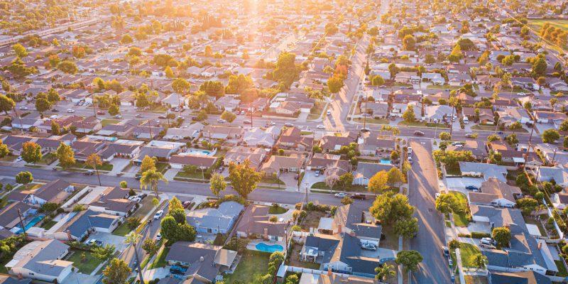 Neighboorhood and sunshine over it